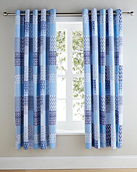 Seville Patchwork Lined Eyelet Curtains