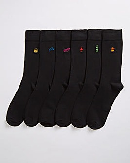6 Pack Black Food Embroidery Socks