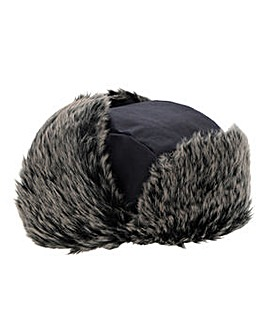 Navy Faux Fur Lined Trapper Hat
