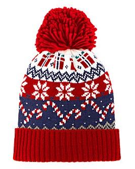 Red/Navy Novelty Fairisle Bobble Hat