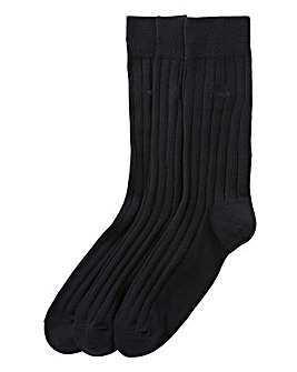 Pringle Pack of 3 Black Ribbed Socks