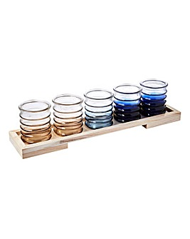 Set of 5 Tea Light Holders and Tray