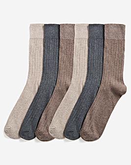 Pack of 6 Ribbed No Elastic Socks