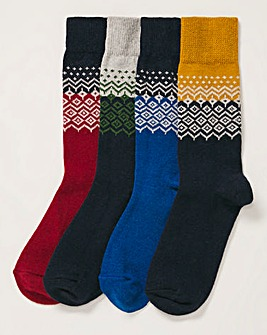 4 Pack Fairisle Boot Socks