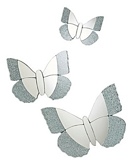 Crackle Butterfly Set of 3 Mirrors