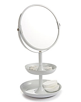 Make Up Mirror with Tray White
