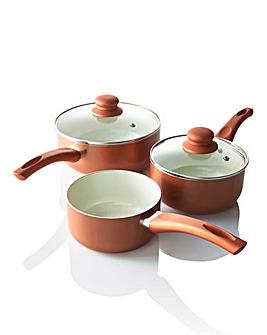 Ceramic 3 Piece Saucepan Set Copper