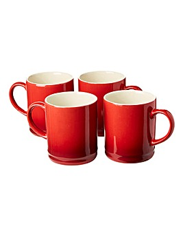 Graduated Tankard Mugs Pack of 4 Red