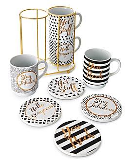 Gold Text 8Pc Mug & Coaster Set