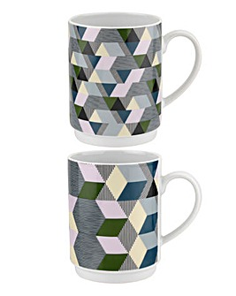 Portmeirion Geometrics Stacking Mugs with Stand