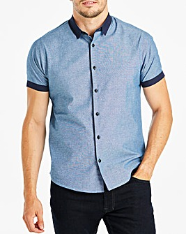 Black Label Navy S/S Chambray Shirt L