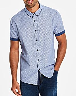Blue S/S Polka Texture Shirt L