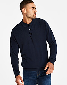 Navy Panel Knit Polo R