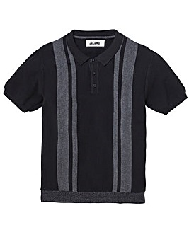 Black Striped Knit Polo L