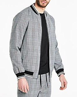 Grey Checked Bomber Jacket Long