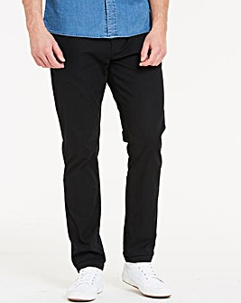 Black Elasticated Waist Tapered Chinos