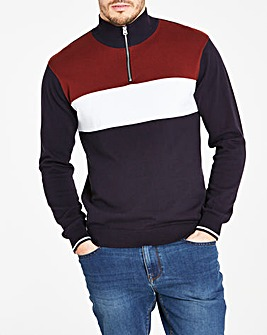 Navy Zip Neck Sports Knit L