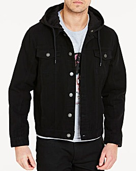 Black Hooded Denim Jacket L