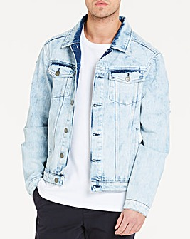 Bleach Wash Denim Jacket L