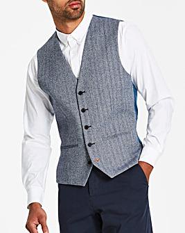 Jacamo Black Label Blue Herringbone Waistcoat Regular