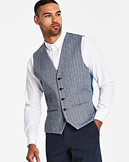Black Label Blue Herringbone Waistcoat R
