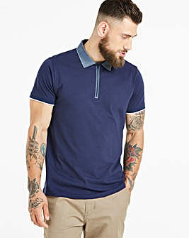 Black Label Navy S/S Zip Neck Polo L