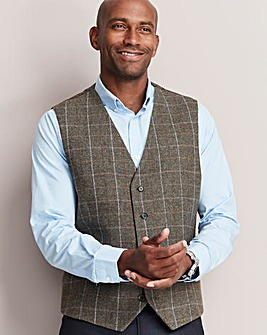 Black Label Taupe Check Waistcoat R