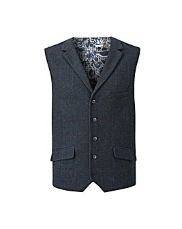 Black Label Blue Check Waistcoat L