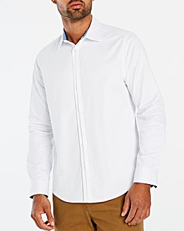 White L/S Slim Half Placket Shirt Regular