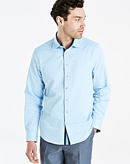 Blue L/S Stretch Pintuck Shirt L