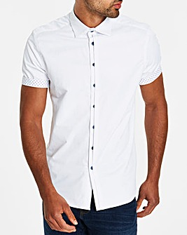 White S/S Slim Half Placket Shirt Regular