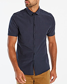 Navy S/S Slim Half Placket Shirt L