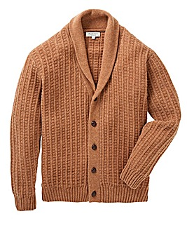 Jacamo Camel Lambswool Cable Cardigan Regular