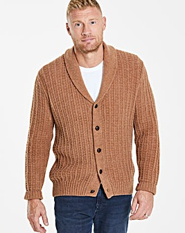 Flintoff By Jacamo Camel Lambswool Cable Cardigan Regular