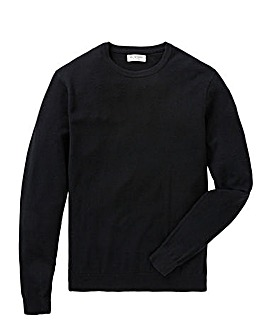 Jacamo Black Cashmere Crew Knit Long