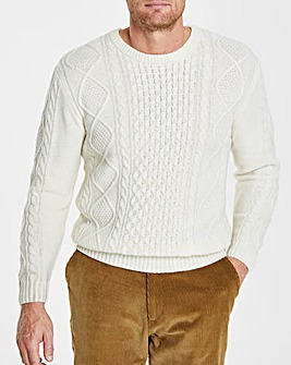Flintoff By Jacamo Ecru Cable Knit L