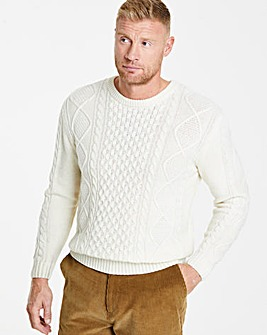 Ecru Cable Knit Crew Long