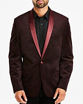 Jacamo Burgundy Printed Slim Velvet Blazer Long