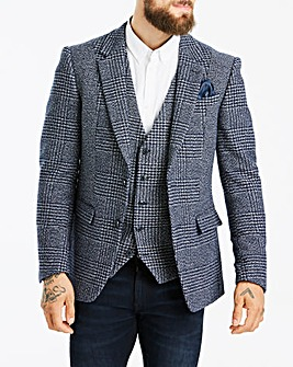 Jacamo Navy Check Tweed Blazer L
