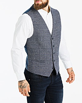 Black Label Navy Check Tweed Waistcoat L
