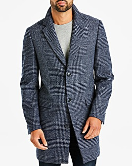 Navy Mix Check Coat