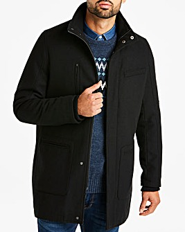 Black Funnel Neck Wool Rich Coat