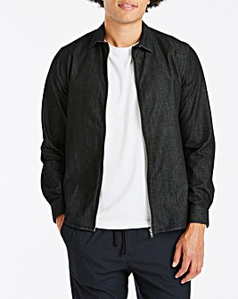 Denim Zip Front Over Shirt