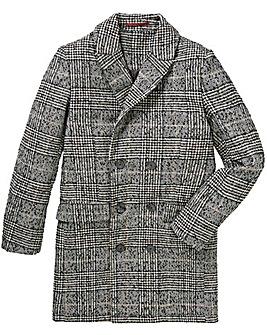 Jacamo Black and White Wool Check Coat Regular