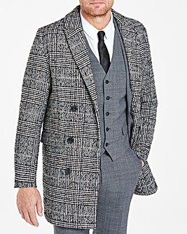 Flintoff By Jacamo Black and White Wool Check Coat Regular