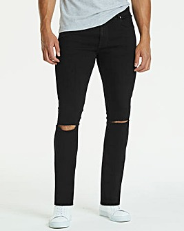 Skinny Rip Black Jeans 29 in