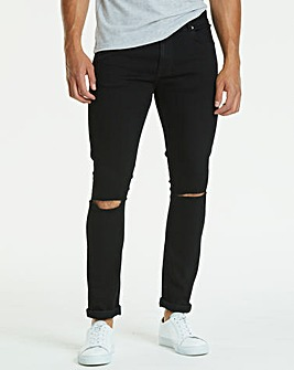 Skinny Rip Black Jeans 33 in
