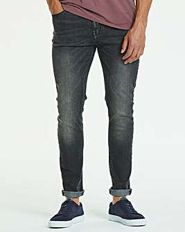 Jacamo Black Washed Skinny Jeans 29in
