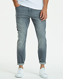 Jacamo Grey Slim Washed Jeans 29in