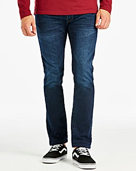 Slim Washed Indigo Jeans 33 in